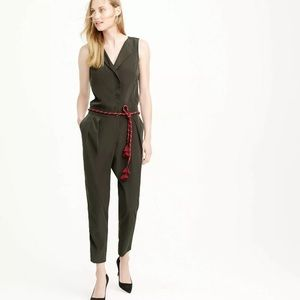 J. Crew Sleeveless Trench Jumpsuit Green Olive 0